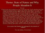 theme state of nature and why people abandon it