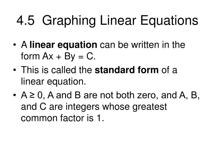 Ppt 45 Graphing Linear Equations Powerpoint Presentation Id4167472