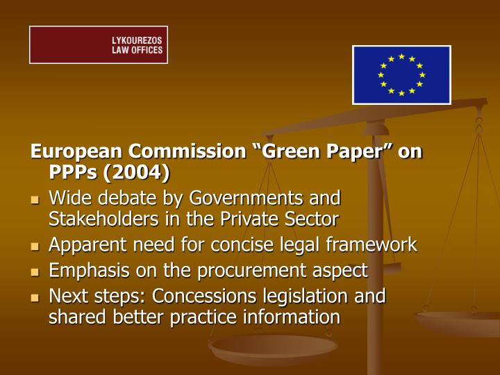 """European Commission """"Green Paper"""" on PPPs (2004)"""