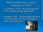 what the bible tells us about choosing our peers