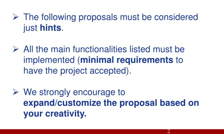 The following proposals must be considered just