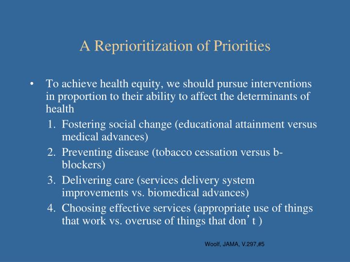 A Reprioritization of Priorities
