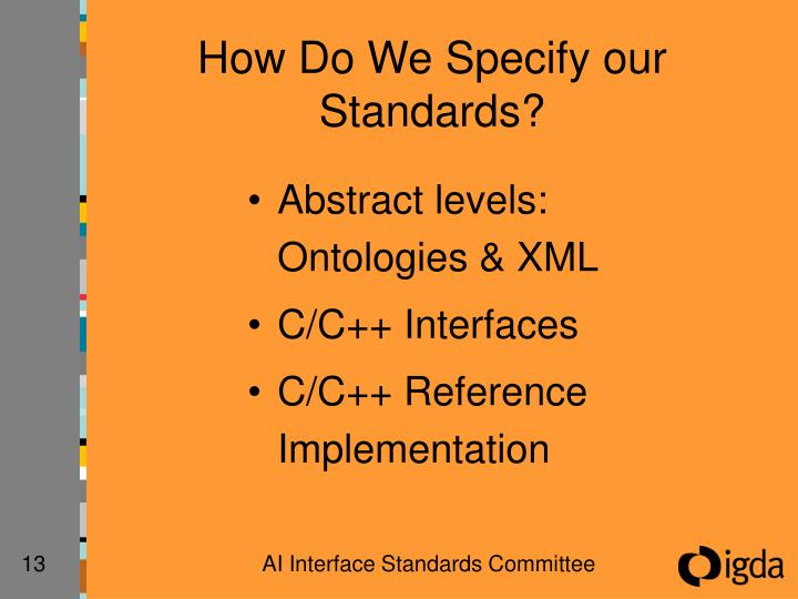 How Do We Specify our Standards?