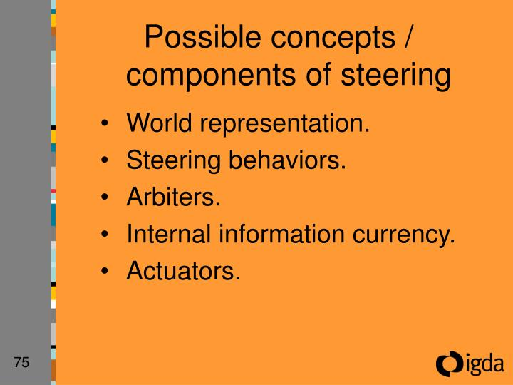 Possible concepts / components of steering