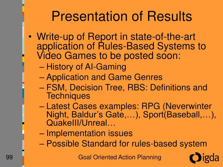 Presentation of Results