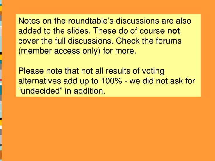Notes on the roundtable's discussions are also added to the slides. These do of course