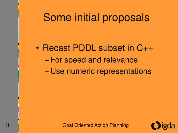 Some initial proposals