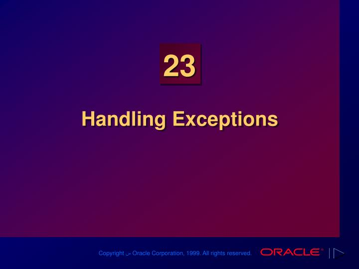 handling exceptions n.