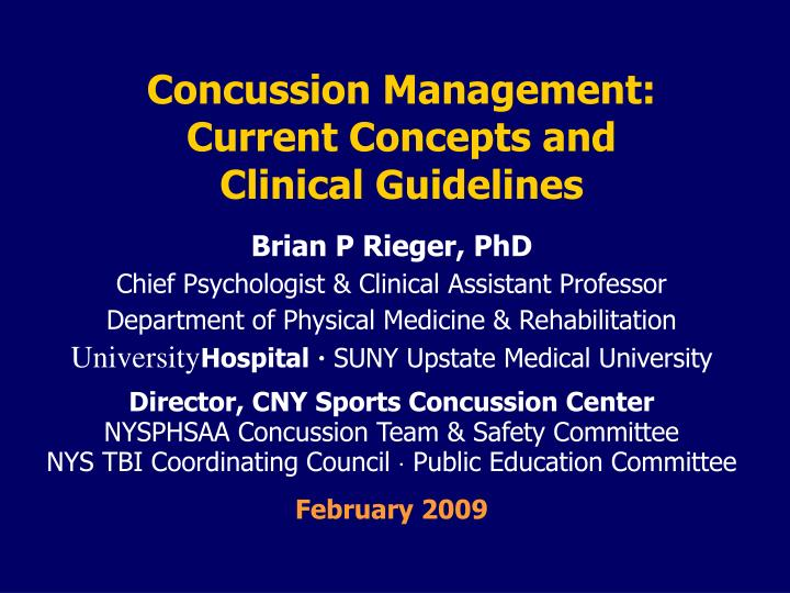 concussion management current concepts and clinical guidelines n.