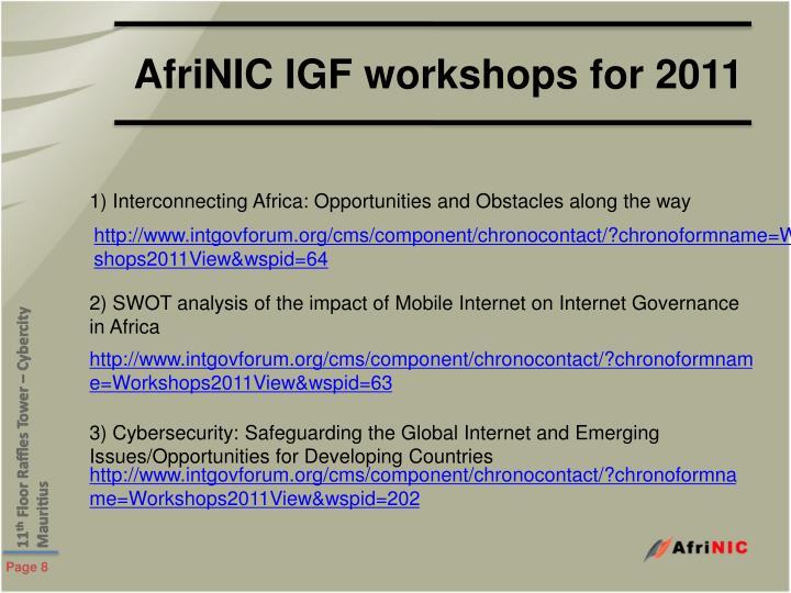 AfriNIC IGF workshops for 2011