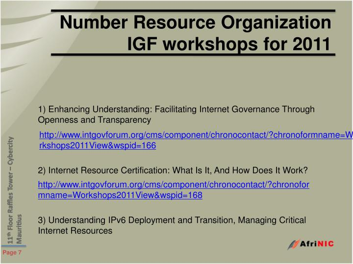 Number Resource Organization