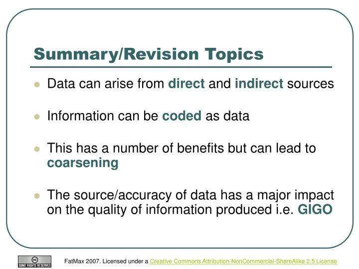 Summary/Revision Topics