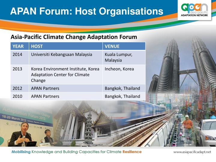 APAN Forum: Host Organisations
