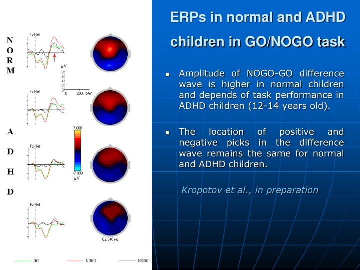 ERPs in normal and ADHD children in GO/NOGO task
