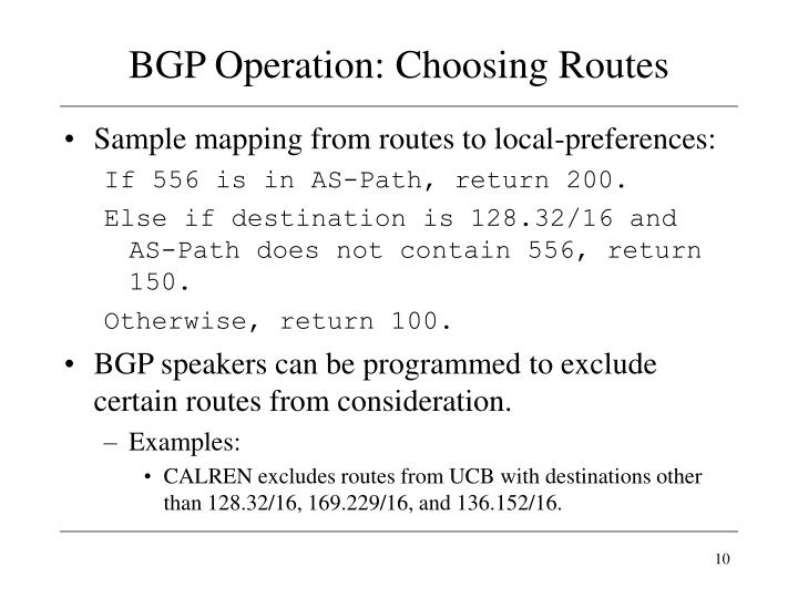 BGP Operation: Choosing Routes