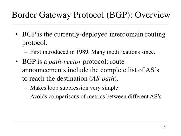 Border Gateway Protocol (BGP): Overview