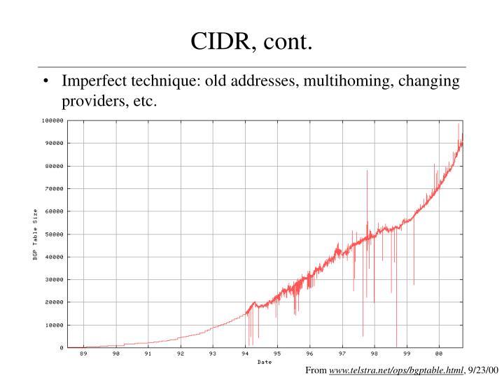CIDR, cont.
