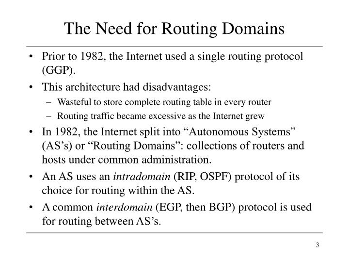 The need for routing domains
