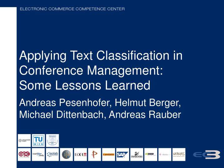 applying text classification in conference management some lessons learned n.