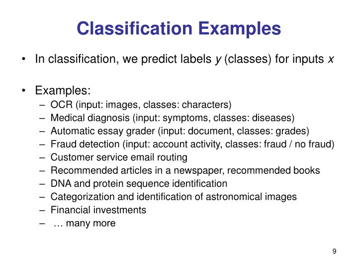 Classification Examples