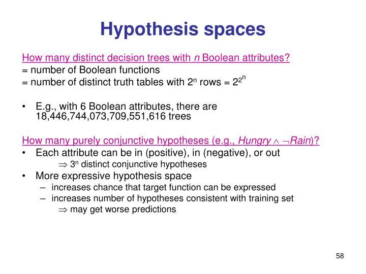 Hypothesis spaces