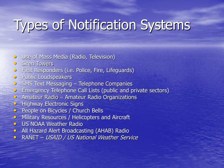 Types of Notification Systems