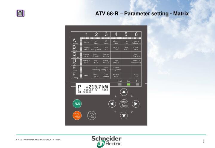 ATV 68-R – Parameter setting - Matrix