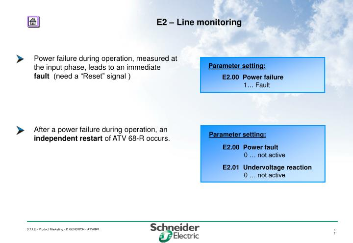 Power failure during operation, measured at the input phase, leads to an immediate