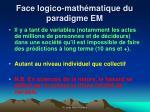 face logico math matique du paradigme em