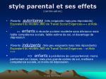 style parental et ses effets continuation