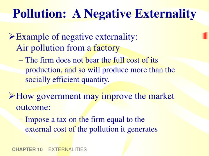pollution as a negative externality Research and development is a standard example of a positive externality, air pollution of a negative externality a market failure arises, for example.