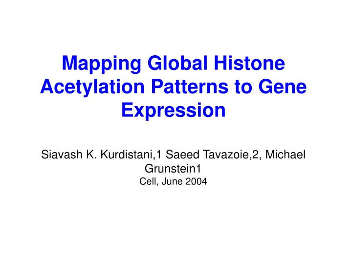 Mapping Global Histone Acetylation Patterns to Gene Expression