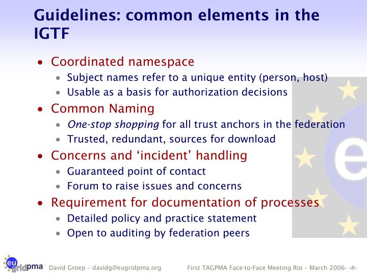 Guidelines: common elements in the IGTF