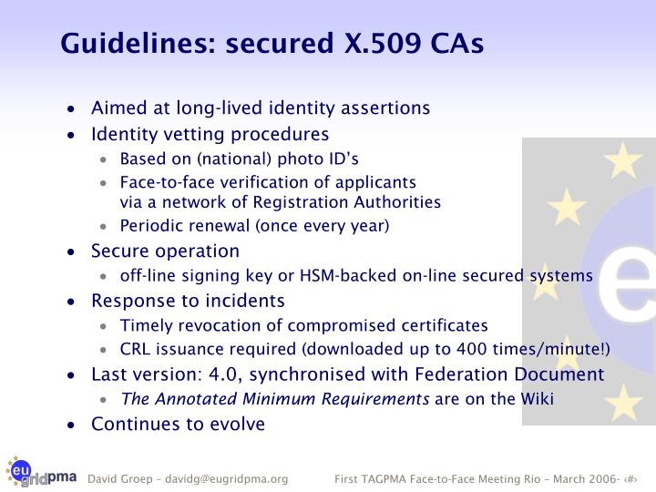 Guidelines: secured X.509 CAs