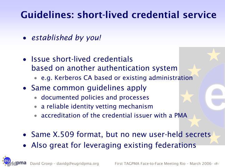Guidelines: short-lived credential service