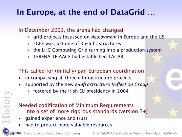 In Europe, at the end of DataGrid …