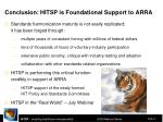 conclusion hitsp is foundational support to arra