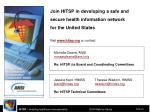 join hitsp in developing a safe and secure health information network for the united states