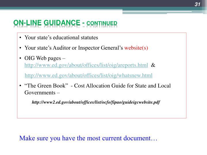 On-line guidance -