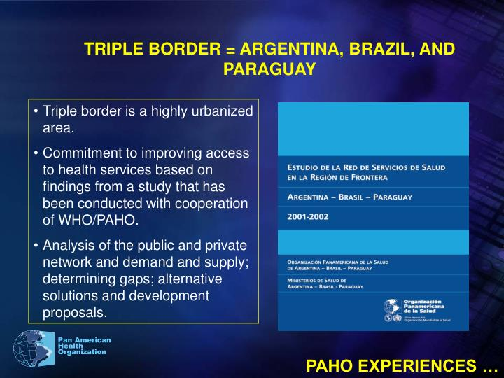 TRIPLE BORDER = ARGENTINA, BRAZIL, AND  PARAGUAY