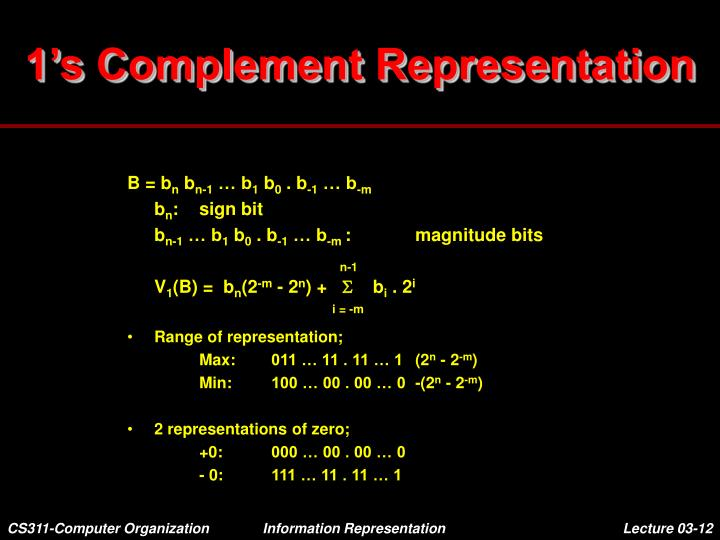 1's Complement Representation