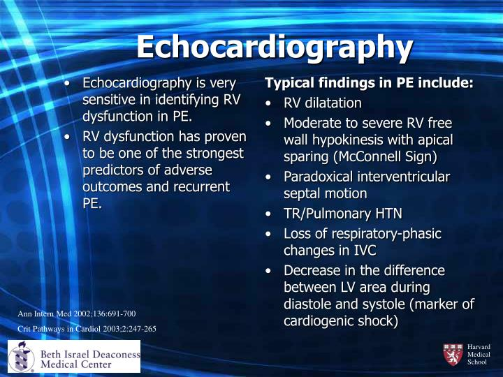 Echocardiography is very sensitive in identifying RV dysfunction in PE.