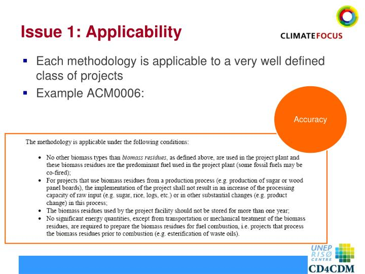 Issue 1: Applicability