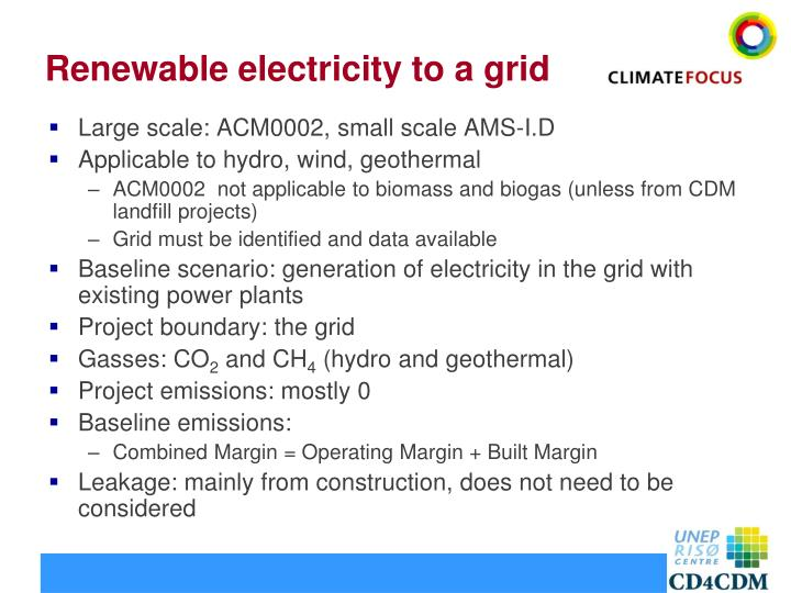 Renewable electricity to a grid