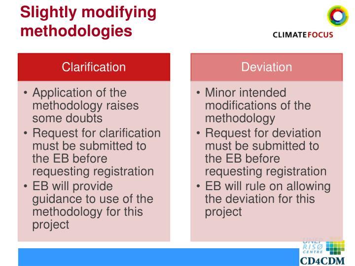 Slightly modifying methodologies