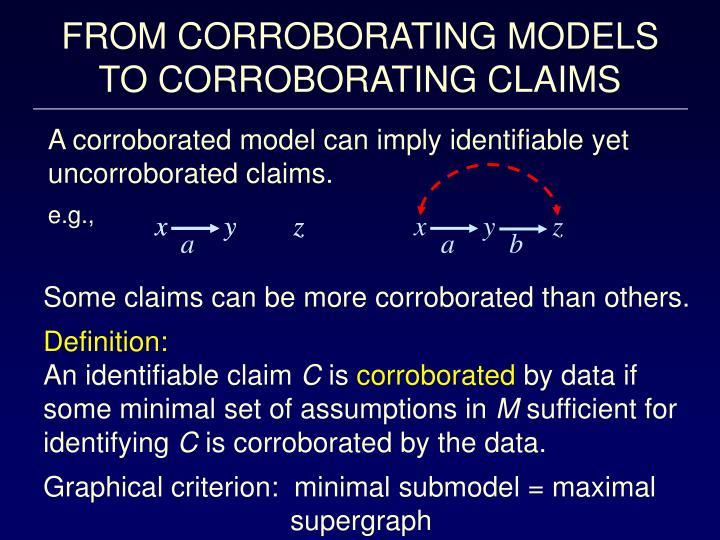 FROM CORROBORATING MODELS