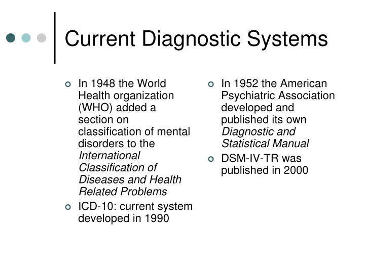In 1948 the World Health organization (WHO) added a section on classification of mental disorders to the