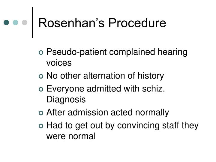 Rosenhan's Procedure
