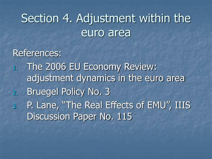 Section 4 adjustment within the euro area