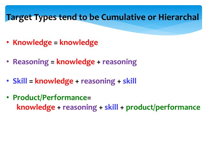 Target Types tend to be Cumulative or Hierarchal